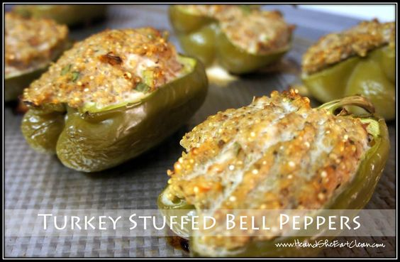 Turkey Stuffed Bell Peppers #eatclean #cleaneating #heandsheeatclean #protein #recipe #oxygenmagazine