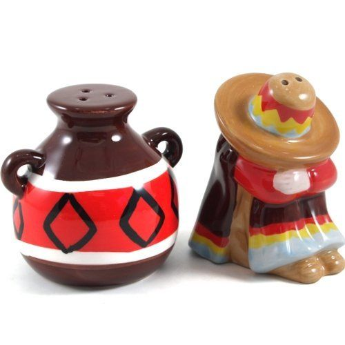 Sombrero and Mexican Jug Ceramic Salt and Pepper Shaker Set by BigKitchen. $8.75. Hand wash. Made from intricately painted ceramic. Functional for everyday use. Easy to fill with rubber stoppers. Bring a piece of Mexico to your dining table with this sombrero and jug salt and pepper shaker set. Each shaker is made from intricately painted ceramic and features a bottom opening with a rubber stopper for easy filling and cleaning. This set of salt and pepper shakers are gr...