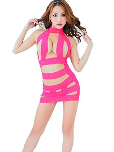 Damen Sexy Dessous - Transparenter Spitze Bodystocking Kleid (Rosa)