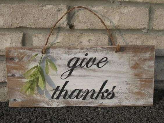 Give Thanks Wood Sign Thanksgiving Autumn Fall Holiday