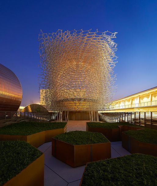 A peek into the UK's beehive-inspired pavilion for Milan Expo 2015 | Photo: Hufton + Crow / Courtesy of UKTI | Archinect