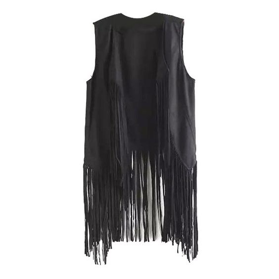 Lapel Plain Open Front Tassel Sleeveless Vest (60.345 COP) ❤ liked on Polyvore featuring outerwear, vests, alice fabray, tops, lapel vest, sleeveless waistcoat, sleeveless vest, vest waistcoat and open front vest