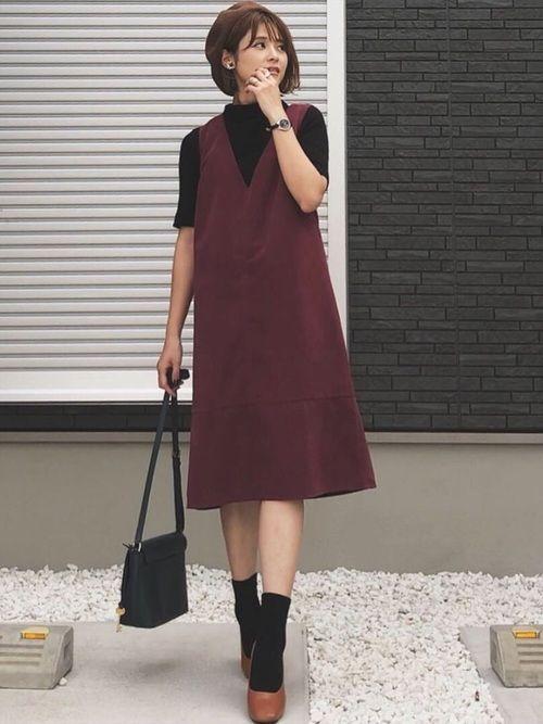 ボルドーが可愛いジャンパースカートは UNRELISHさんのもの♡ 秋カラーが可愛い♡ Instag