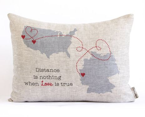 long distance custom burlap pillow