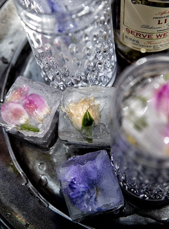 Edible Flower Ice Cubes from Salted & Styled: