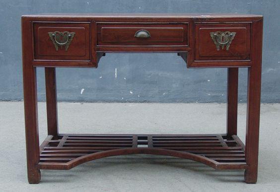 Bureau ancien 3 tiroirs zamu cypr s origine jiangsu for Cabinet chinois meuble