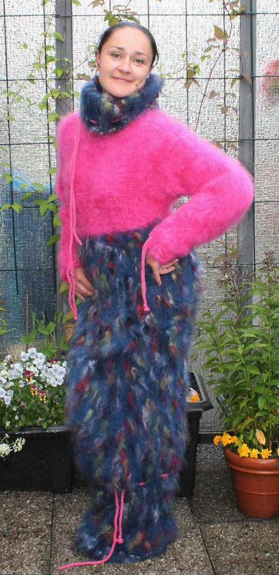 Longhair Mohair fuzzy handknitted Sweater stumble Dress pink bunt L-XL | eBay