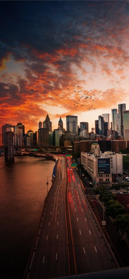 Sunset Over Manhattan New York City City Wallpaper New York Wallpaper Hd Nature Wallpapers