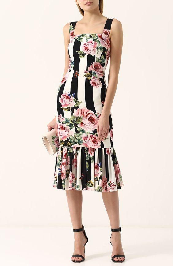 Шелковое платье-миди в полоску с цветочным принтом | Фото №2