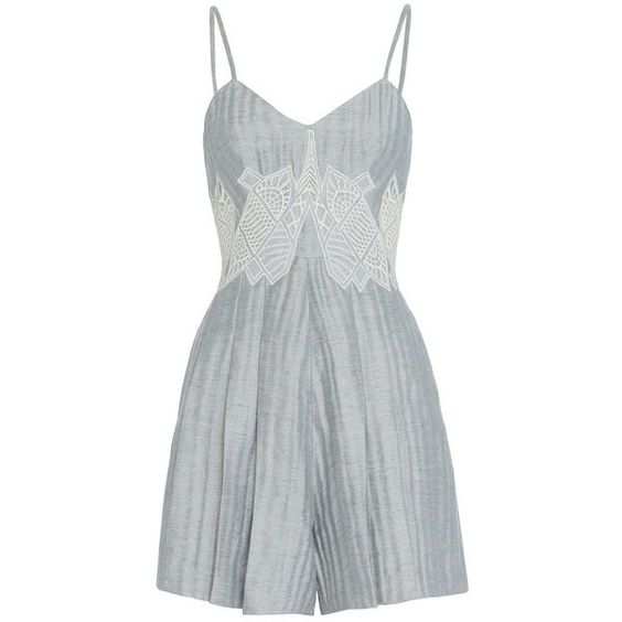 Jonathan Simkhai Women's Lattice Pleated Romper (€535) ❤ liked on Polyvore featuring jumpsuits, rompers, silver, short rompers, v neck romper, playsuit romper, blue romper and short romper