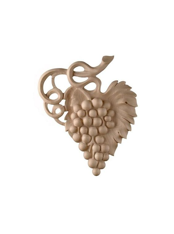 Grapevine wood carving grape onlay wine cellar