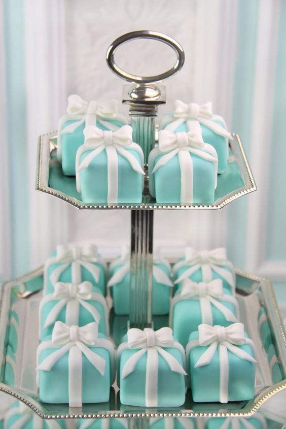 Try some Lovely Breakfast at Tiffany's Mini Cakes for your Bridal Shower Cake. These lovely mini cakes were created by Patricia Arribálzaga of Cakes Haute Couture http://www.cakeshautecouture.com - http://bit.ly/1kPmLAj