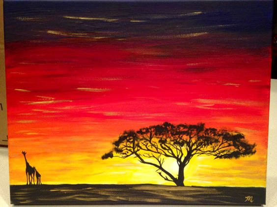 african sunset silhouette purple