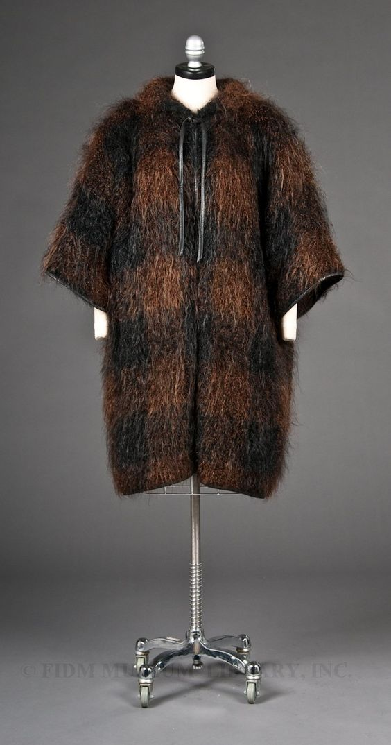"A classic example of Bonnie Cashin's ""Noh"" coat in woolly brown and black mohair, ca. 1953-1957."
