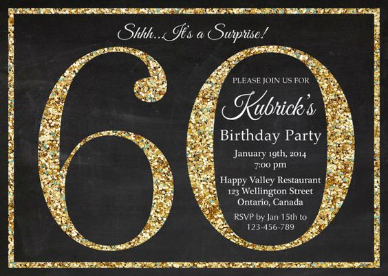 60th birthday invitation. Gold Glitter Birthday Party invite. Adult ...