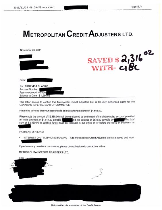 Another Debt Settled with wwwccdrca CIBC Settlements Pinterest - payment received form