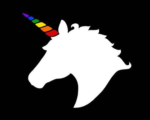 Black And White Unicorn Head Silhouette With Rainbow Horn Art Print 8 X 10 Home Decor Wall Art Do You B Unicorn Head Pen Illustration Rainbow Unicorn Party