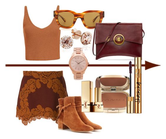 """""""Tanning in FALL"""" by saidahgray on Polyvore featuring Chloé, Gianvito Rossi, Exclusive for Intermix, Acne Studios, Michael Kors, Dolce&Gabbana, Yves Saint Laurent, Tory Burch, suede and Tan"""