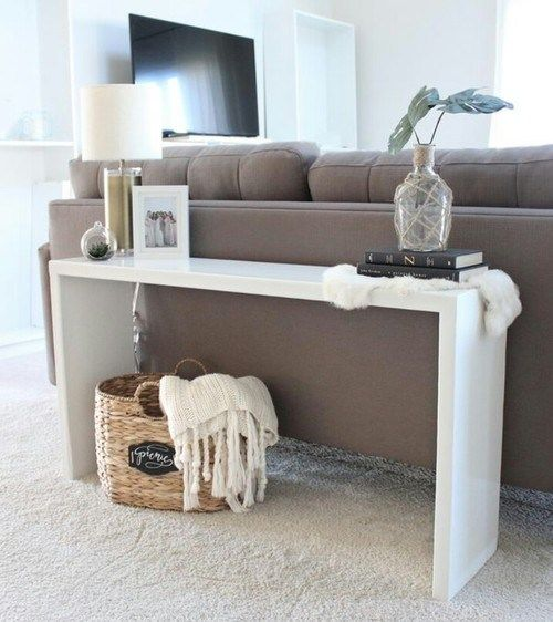 The Sofa Table Can Be Really Decorative Provide Space For Storage Space Or Give An Useful Barrier Between The Back Of The Ide Sofa Ruang Tamu Meja Sofa Dekor Living room table behind couch