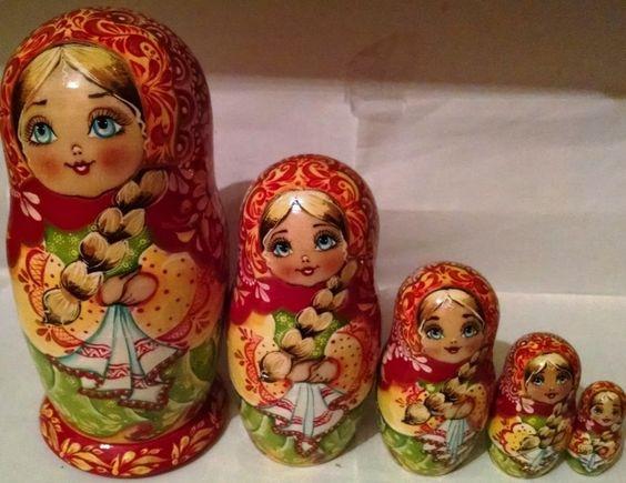 Floral NESTING DOLL STACKING DOLLS 5 UKRAINIAN