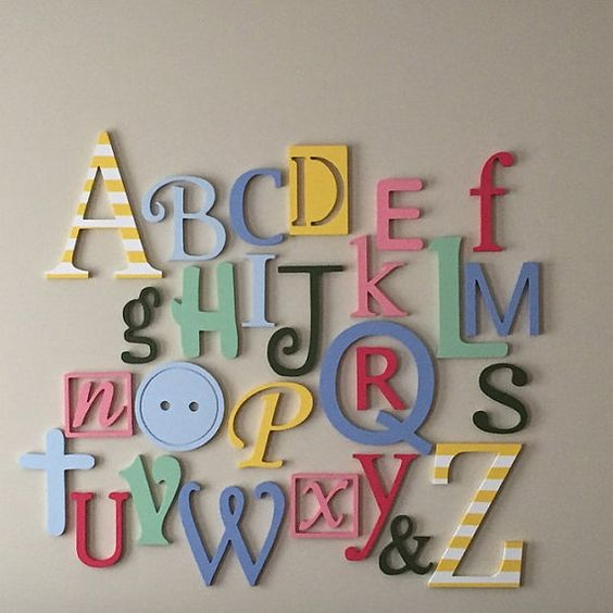 Wooden Alphabet Letters Set PAINTED Wooden by AlphabetBoutique123