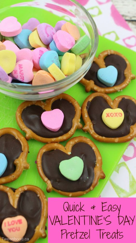 The recipe for these cute Valentine's Day Pretzel Treats has only 3 ingredients and is quick and easy to make.