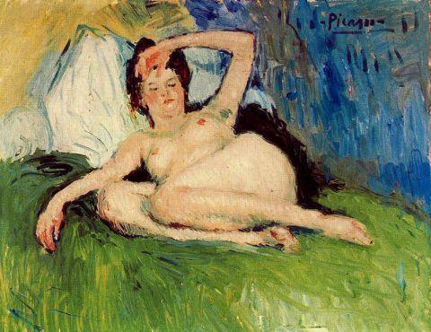 pablo picasso, Cama, Interiores, jeanne Desnudo reclinado 1901