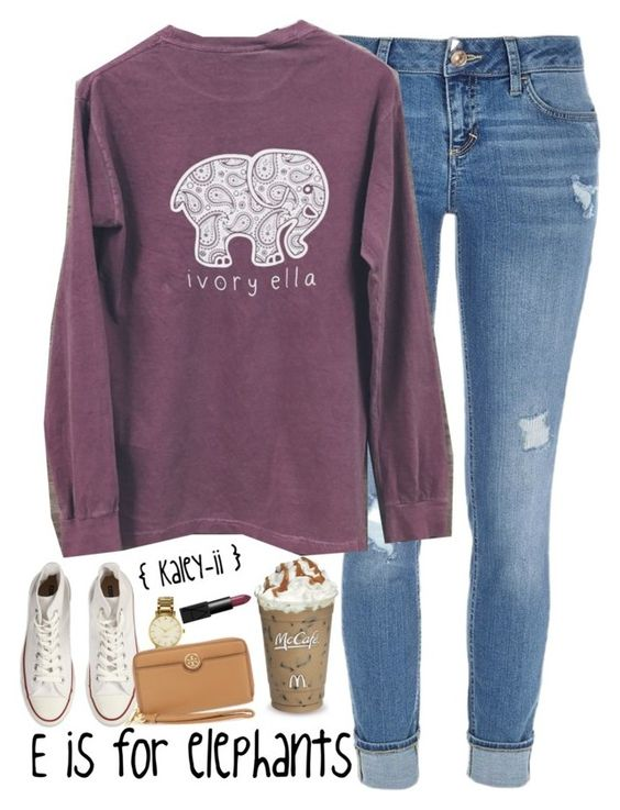 """E is for Elephants"" by kaley-ii ❤ liked on Polyvore featuring River Island, Converse, Kate Spade, Tory Burch and NARS Cosmetics:"