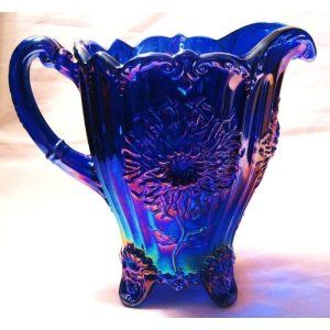 Blue Carnival Glass | Cobalt Blue Carnival Glass Footed Dahlia Lemonade Pitcher