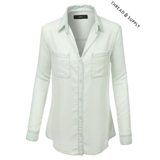 Thread Supply Key Largo Shirt (2.605 RUB) via Polyvore featuring tops, roll sleeve shirt, white shirt, white button down shirt, button up shirts и roll top
