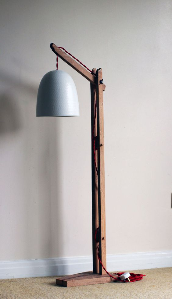 Vintage wooden stand lampfloor lamp standing lighting for Diy led floor lamp