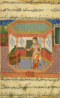 "Tutinama (Tales of a Parrot)  Tutinama, literal meaning ""Tales of a Parrot"", is a 14th-century Persian rendering of a series of 52 stories, containing 250 miniature paintings"