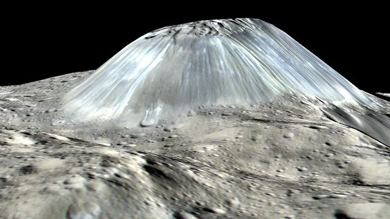A lonely 3-mile-high (5-kilometer-high) mountain on Ceres is likely volcanic in…