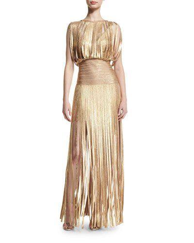 Sleeveless Metallic Fringe Gown, Gold Champagne