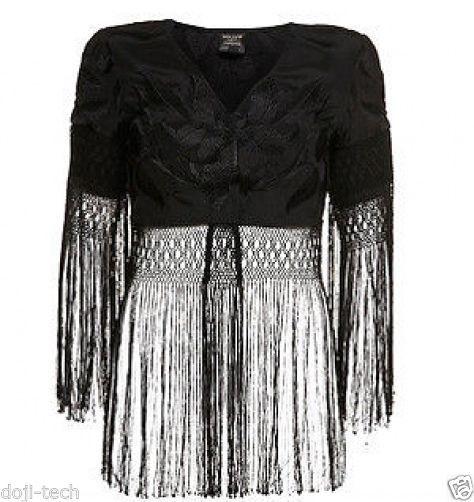 Kate Moss Silk Floral Embroidered Tassel Fringe Vtg Crop Bolero Jacket 12 40 US8
