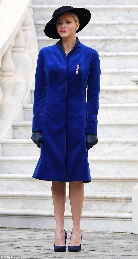 Look ladylike in a blue velvet coat like Princess Charlene in Akris #DailyMail