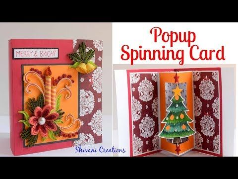 How To Make Spinning Christmas Tree Card Diy Popup Card Quilled Christmas Card Youtube Christmas Tree Cards Spinning Christmas Tree Diy Christmas Cards