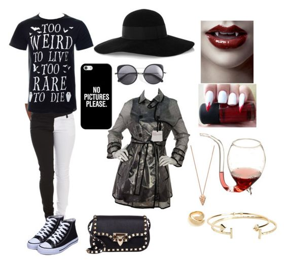 """Vampire Girl"" by wolfschaffer on Polyvore featuring Wood Wood, Casetify, Eugenia Kim, RED Valentino, Valentino, Kasun, Aéropostale, Pamela Love, gothic and vampire"