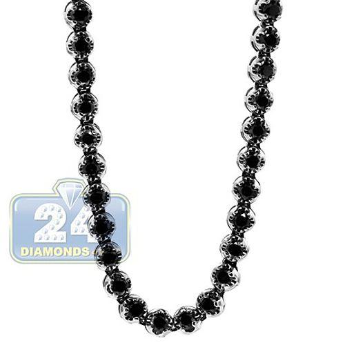 14k White Gold 17 30 Ct Black Diamond Mens Tennis Chain 33 Inches Black Diamond Necklace Gold Chains For Men Chains For Men