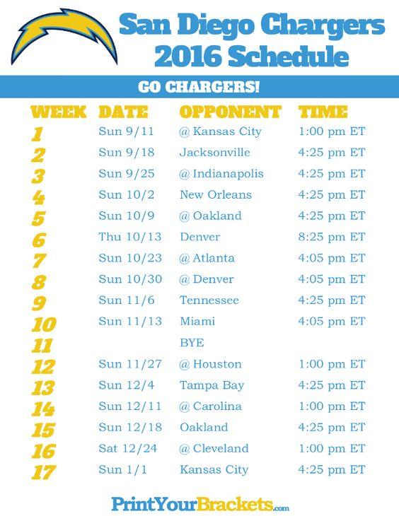 San Diego Chargers Schedule - 2016