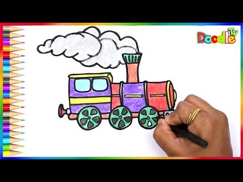 How To Draw A Train Engine Using Color Glitter Easy For Kids Steam Engine Train Doodle Tv Youtube Steam Engine Trains Train Drawing Train Engines