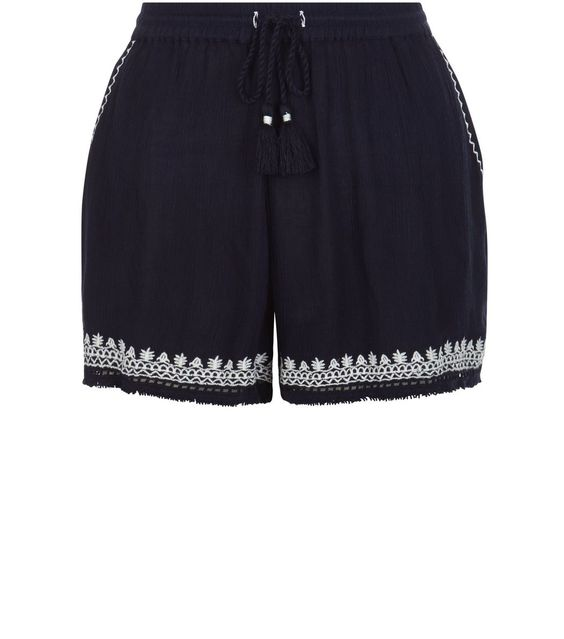 Navy Embroidered Trim Tassel Hem Shorts  | New Look