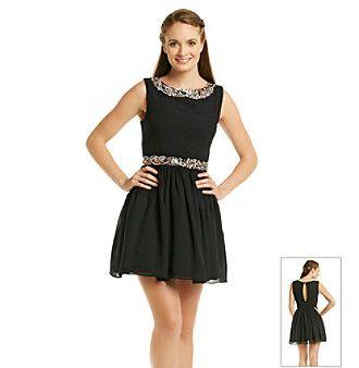 City Triangles® Juniors' Rhinestone Necklace Waist Dress