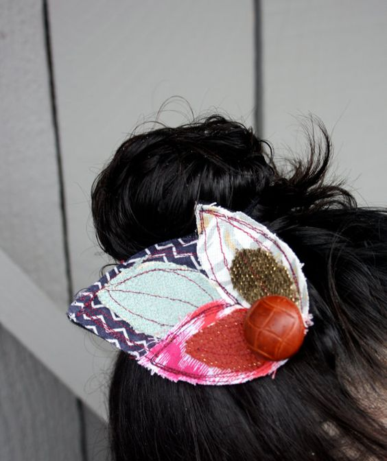 Upcycled Fabric Applique Hair Clip, Hair Accessory, Fascinator on Etsy, $6.00