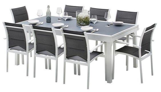 Salon de jardin Whitestar blanc/gris perle Table 8/12 pls+ 8 fts + ...