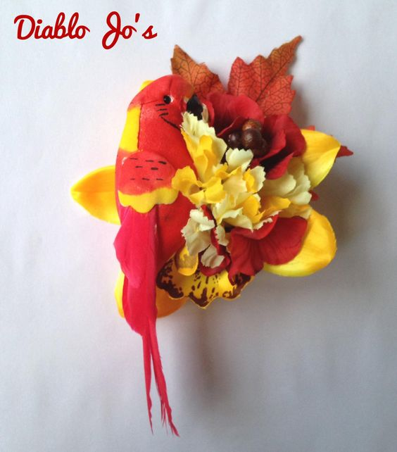 Tropical Red Parrot Hair flower, Rockabilly, Alternative hair, Pin Up by DiabloJos on Etsy