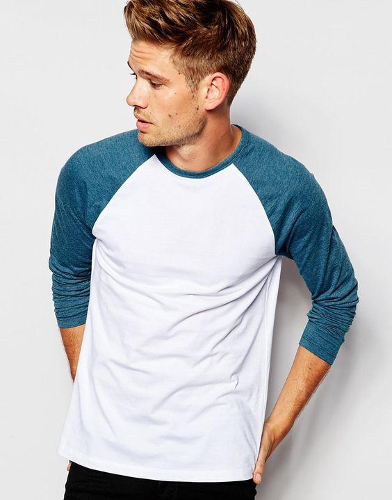 T-Shirt von ASOS weiches Jersey Rundhalsausschnitt kontrastierende Raglanärmel reguläre Passform - entspricht den Größenangaben Maschinenwäsche 100% Baumwolle Model trägt Größe M und ist 183 cm/6 Fuß 0 Zoll groß