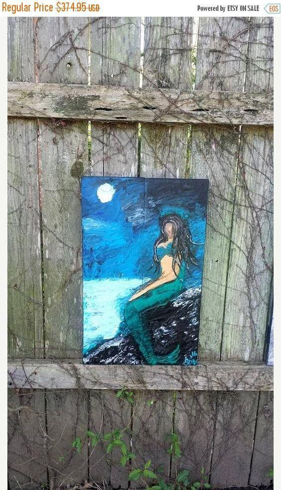 Moonlight Mermaid Heavily Textured Palette Knife Oil Painting