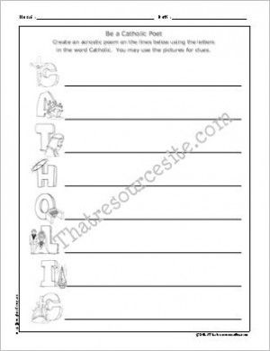 Printables Religious Worksheets be a catholic poet acrostic worksheet religious education resources for teachers and homeschoolers writing pinterest cat