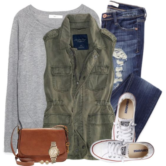 A fashion look from February 2016 by steffiestaffie featuring Zara, Converse, FOSSIL and American Eagle Outfitters